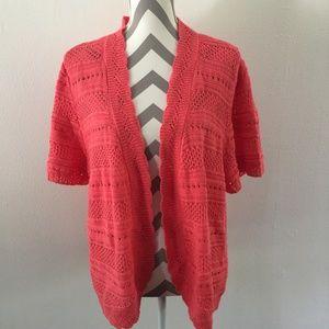 CJ Banks Pink Short Sleeve Open Cardigan Size 2X